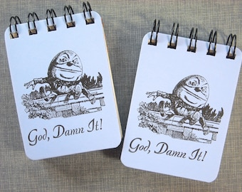 Letterpress Mini Journal -  Spiral Bound Sketch Book - ACEO ATC sized Notebook - Humpty Dumpty