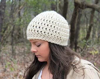 Crochet Hat, Crochet Beanie, Cream Beanie, Cream Hat, Beige Beanie, Beige Hat, Winter Hat, Chunky Beanie, Tan Beanie, Tan Hat, THE SENECA