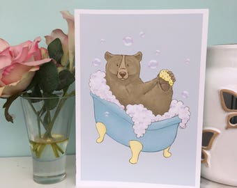 Bear Bubble Bath Art Print, 240gsm, A5 and A4 size, Bathroom Wall Art, Cute Animal Illustration