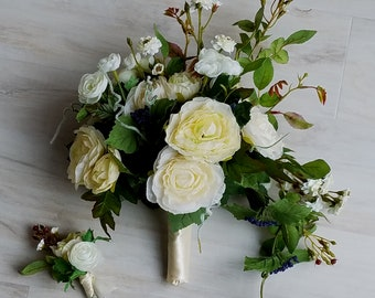 Foliage Bridal Bouquet Ivory silk wedding flowers groom boutonniere Ready Ship bridesmaid bokay artificial greenery party accessories
