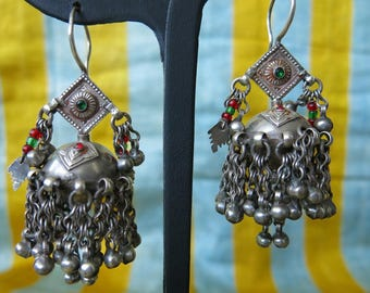 Ethnic Indian silver earrings with glass beads and dangles