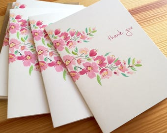 Cherry Blossoms Thank You Note Cards - Watercolor Floral Thank You Cards - Pink Flower Cards - Watercolor Botanical Note Cards - Set of 6