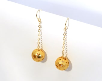 Moonball Dangle Earrings (Steel, Bronze or Gold)