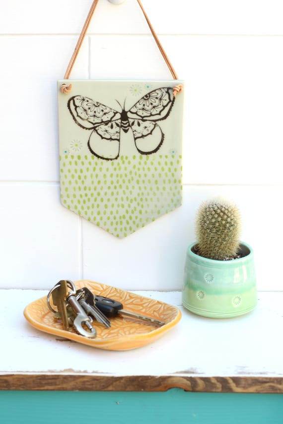 hanging wall tile // moth tile // moth banner