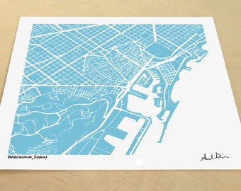 Barcelona Map, Hand-Drawn Map Print of Barcelona Spain