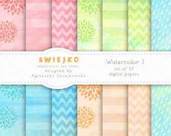 Digital Paper, Watercolor Background, 13 Digital Scrapbooking Papers, Hand Painted, Stripes, Chevron, Zigzag, Flowers (20)