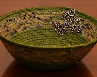 Fabric Rope Coiled Basket: Metallic Green Gold Black Leaf Wooden Buttons- Round