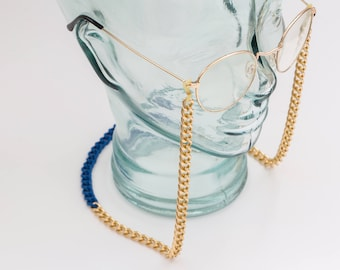 Blue and Gold Chunky Eyeglass Chain, gold eyeglass strap, gold and blue sunglasses chain