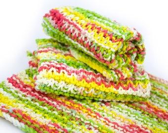 Hand Knit Dishcloth Set - Hand Knit Washcloth - Pink Lemonade