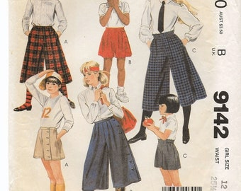 "A Culottes Pattern for Girls: 3 Designs/Variations, Each Style in 2 Lengths - Size 12, Waist 25-1/2"" • McCall's 9142"