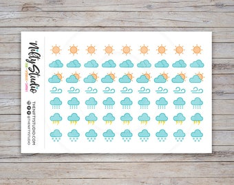Weather Tracking Stickers | Planner Stickers | Planner Stickers | The Nifty Studio [168]