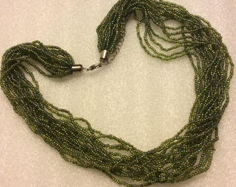 Green Seed Beaded Necklace