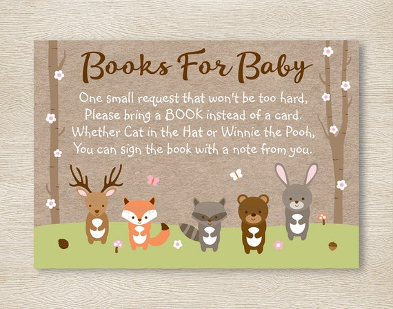 Pink Woodland Forest Animal Baby Shower Book Request Cards
