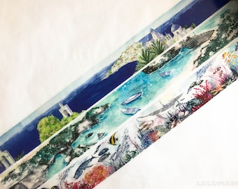 Sample - washi tape samples special ink limited edition Greek island / sea side / underwater world 60cm <SI401>