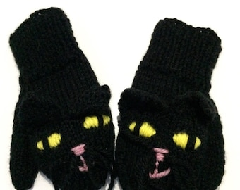Children's Hand Knitted Black Cat Mittens Age 3-4