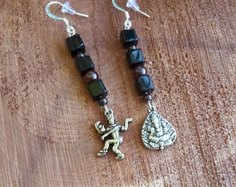Dancing Shiva (Nataraja) and Ganesha Charm Earrings: Garnet and Jet Beads, Silver Plated Ear hooks! ~Boho, Witch, Mystic, Jewelry