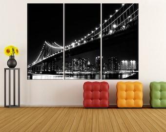 New York City Manhattan Skyline canvas Print, extra large wall art,  Brooklyn Bridge canvas print city Skyline photo print, iki68