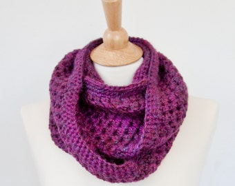 Brinley Crochet Infinity Circle Scarf in Plum w/ Alpaca Blend Yarn