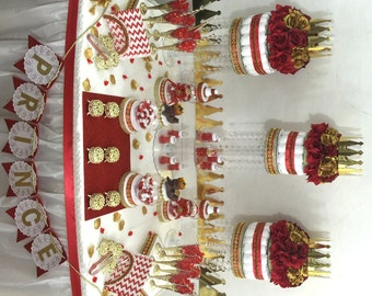 RED And GOLD Baby Shower Candy Buffet Centerpiece With Baby Shower Favors /  Boys Red And