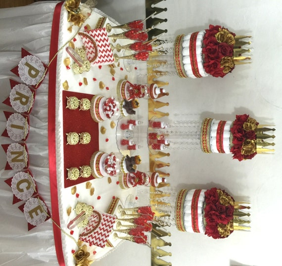 Great RED And GOLD Baby Shower Candy Buffet Centerpiece With Baby Shower Favors /  Boys Red And Gold Prince Baby Shower Theme And Decorations