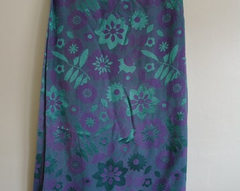 Vintage Curtains, Green and Purple Curtains, Satin Sheen, Retro Curtains, Floral, Gothic, Bold, Rococo, Baroque, Decadent, Boho, Hippie Chic