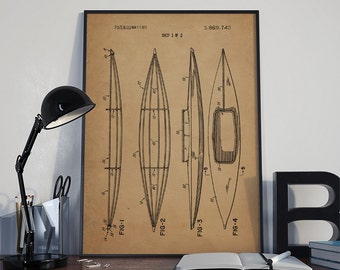 Kayak Patent,Kayak Print, Kayak Poster, Kayak Prints, Kayak Blueprint, Kayak Print, Kayak Art, Kayak Decor,patentprints #P90