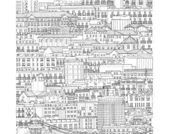 El Raval, Barcelona, Spain. Print | Poster of its architectonic landscape (ink drawing)