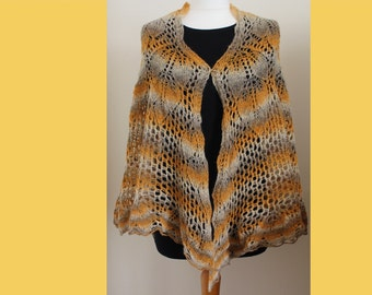 Hand knit lace wool shawl