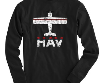 LS Fly Havana T-shirt - HAV Airport Long Sleeve Tee - Men and Kids - S M L XL 2x 3x 4x - Havana Cuba Shirt, Cuban - 2 Colors