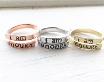 I Am Enough, Wrap Ring, Personalized Ring, Hand Stamped Ring, Personalised Ring, Inspirational Jewelry, Self Love, Girl Power, Feminist
