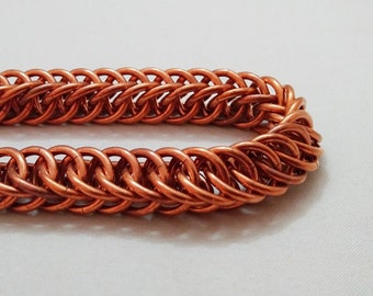 Handmade Chainmail Bracelet 14g Half Persian Solid Copper Maille Jewelry