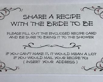Share a Recipe Invitation Insert; Bridal Shower Invitation; 3x5; Set of 50
