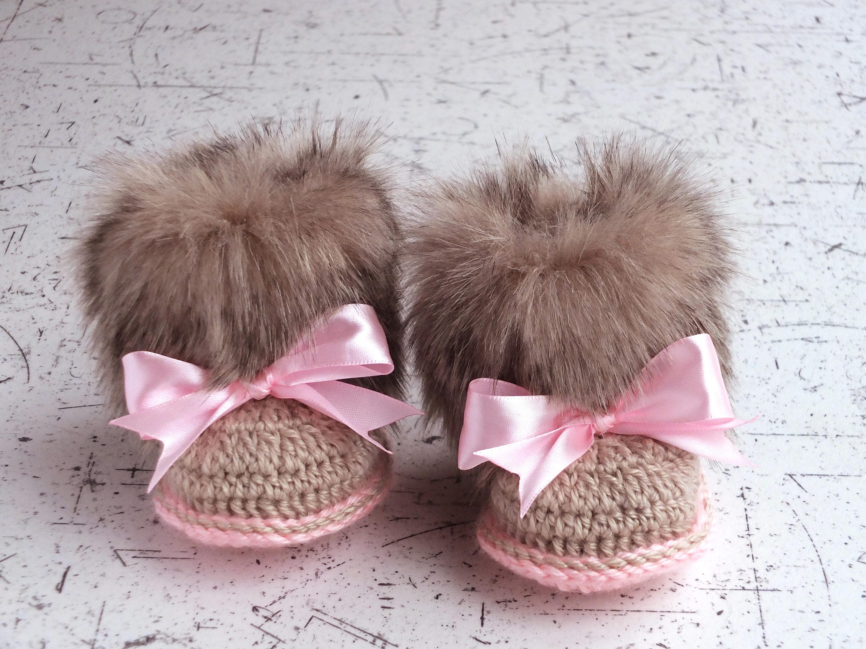 Baby girl Faux fur Booties Crochet booties Newborn winter Boots