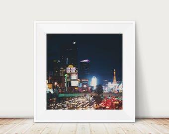 Las Vegas photograph Las Vegas print night photograph urban photograph city photograph street photography Hotel photograph