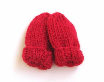 Scarlet Red Hand Knit Baby Mittens in Newborn Infant Size 0 to 3 months, No Thumb Mitts, Handmade Gift Hand Warmers for Girl or Boy Child