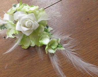 Ivory Rose and Green Hydrangea Flower Corsage, Weddings, Proms and Events.