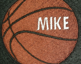 """Basketball Iron On or Sew On Patch, Plain or Personalized 100% Embroidered 4"""" Diameter, Sports"""