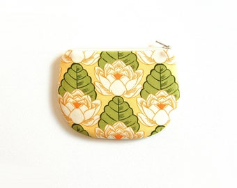 Coin Purse, Small Zipper Pouch, Women and Teens, Mini Wallet, Amy Butler, Lotus Pond in Yellow