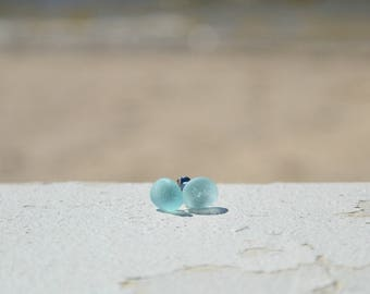 Aqua Sea Glass Stud Earrings | downbytheseaglass