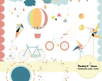 Kite border clip art etsy 18 clip art elements hot air ballonpinwheel bicycle cloudwreath voltagebd Image collections