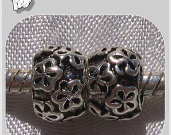 2 CHARMS beads rings flowers SILVERED METAL consistent 5mm hole 6x9mm * E232