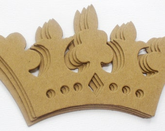 """FANCY CROWNS - Bare Chipboard Die Cuts - DIY Plain Craft Embellishments - 2  5/8"""" x 5"""" inches"""