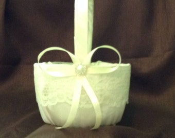 wedding flower girl basket ivory Champagne or white color custom made lace
