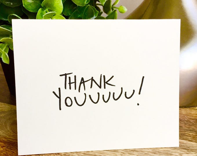 Set of 10 cards, thank you card set unique style, simple thank you card, handlettered stationery, Hand lettered card, thank you notecard