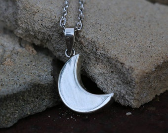 Moon Necklace Charm, Sterling Silver Dainty Pendant, Crescent, Minimalist Charm, Puffed Jewelry, Silver Pendant Only