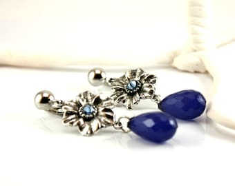Flower dangle Clip-on Earrings/Lightweight Long Clip Earrings/Long nickel free blue clip-on earrings