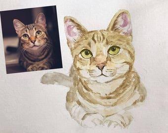 Cat Lover Gift , Pet Lover gift, Gift for pet lover, Pet portrait painting, Watercolor painting custom, Custom Portrait Cat, Custom pet art