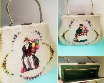1960s 60s 60's Vintage Beck Creations Purse Needlepoint Bag Balloon Peddlers Tapestry Purse
