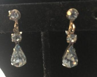 Vintage Drop Rhinestone Clip Earrings