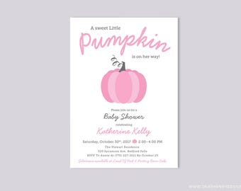Pink Pumpkin Baby Shower Invitation, Little Girl Baby Shower Invite, Halloween or Fall Baby Shower, Thanksgiving Pink and Gray